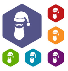 santa hat mustache and beard simple style vector image vector image