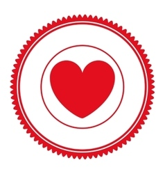 seal stamp with heart icon vector image