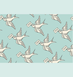Seamless pattern with old school vintage bird vector