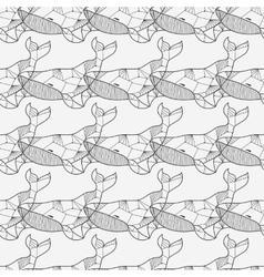 Seamless sea pattern with hand drawn whales vector image