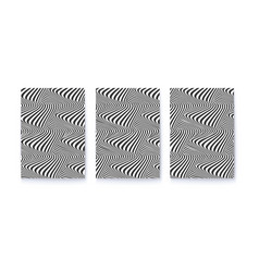 set covers with optical illusions black vector image