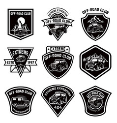 Set of four off-road suv car emblems extreme vector