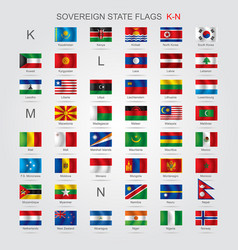 Set of sovereign state flags k-n vector