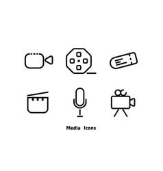 social media icons - set black color sign vector image