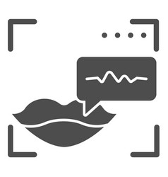 Sound recognition and lips solid icon voice vector