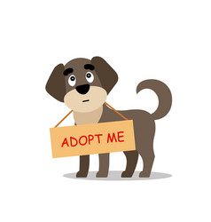 Standing dog with a poster adopt me dont buy vector