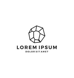 stone gems gem logo line art crystal outline vector image