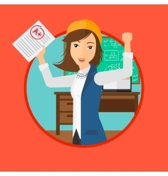 Student holding test paper with best result vector