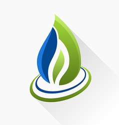 Symbol fire Blue and green flame glass icon with vector