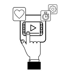 technology app cartoon vector image