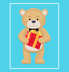 Teddy toy with black bow holds present box in paws vector