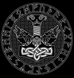 thor s hammer - mjollnir scandinavian runes vector image
