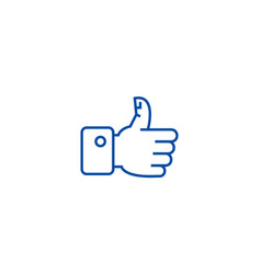 thumbs up line icon concept thumbs up flat vector image