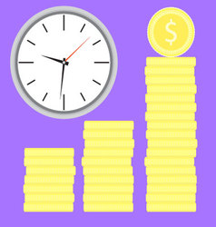 Time is money Clock with coin stock vector image