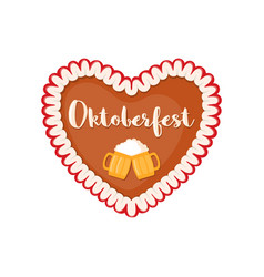 Traditional bavarian gingerbread heart icon in vector