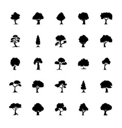 Trees solid icons set vector