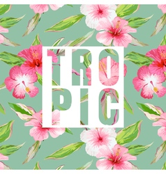 Tropical Leaves and Flowers Background Graphic vector