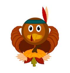 Turkey bird with cornucopias and leaves vector