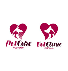 Vet clinic pet shop logo animals dog cat vector