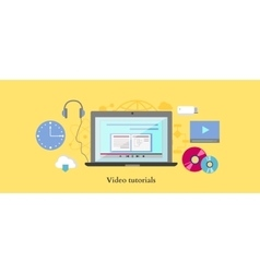 Video tutorial icon flat design style vector image