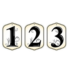 vintage number tags vector image