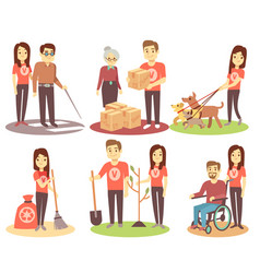 Volunteering and supporting people flat vector