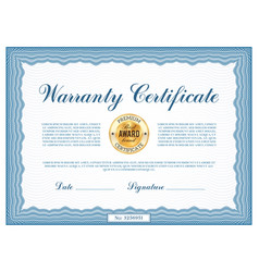 warranty certificate template frame blank vector image