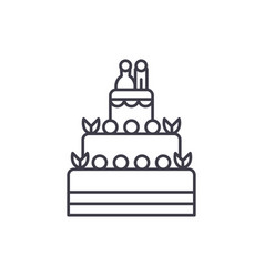 wedding cake line icon concept wedding cake vector image