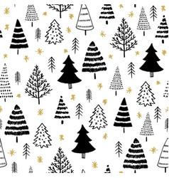 winter graphic seamless pattern with xmas tree vector image