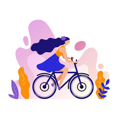 Woman rides a bicycle on a vector