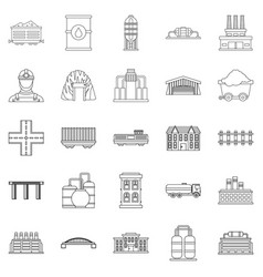 workfolk icons set outline style vector image
