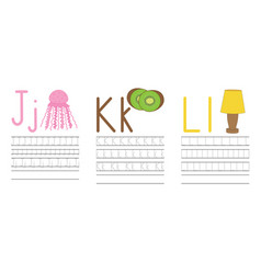 writing practice letters jkl education for kids vector image