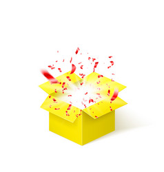Yellow box with red confetti surprise box vector
