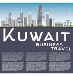 Kuwait city skyline with gray buildings vector