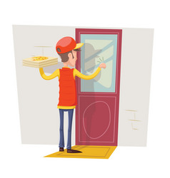 Pizza box delivery boy man concept knocking at vector