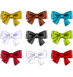 Satin color ribbons Gift bows vector image vector image