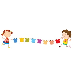 A girl and a boy holding the string with hanging vector image
