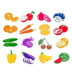 Fruits and vegetables set icons vector image vector image