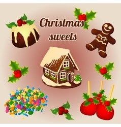 Holly berry and sweet Christmas desserts vector image vector image