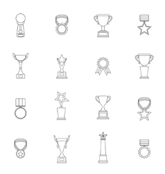 Trophy Icons Set Outline vector image vector image