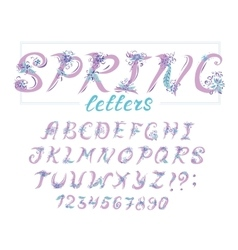 Alphabet in spring style with flowers vector image
