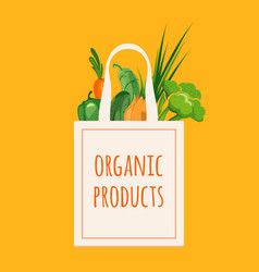 bag with organic vegetables vector image