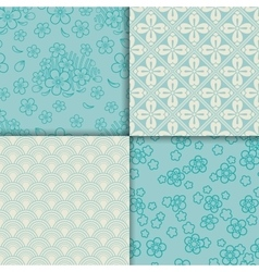 Blue and white sakura pattern set vector image