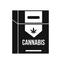 Cannabis cigarette box icon black simple style vector image vector image