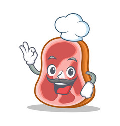 Chef meat character cartoon food vector