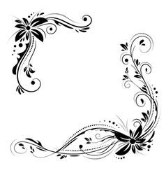 floral corner design ornament black flowers on vector image