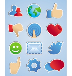 stickers with social media icons in scrapbooking s vector image vector image