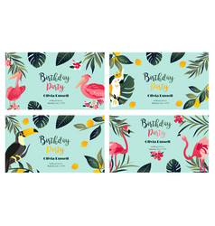 4 tropical hawaiian posters with exotic birds vector image