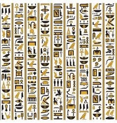 Egyptian hieroglyphs yellow black color seamless vector image vector image