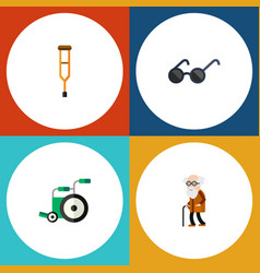 flat icon handicapped set of ancestor spectacles vector image
